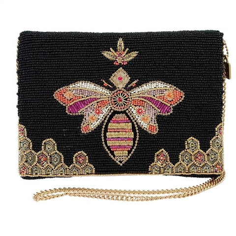 Mary Frances Bee Lieve Queen Bee Beaded Convertible Clutch Crossbody Handbag