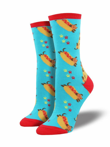 Ladies Wiener Dog Graphic Socks