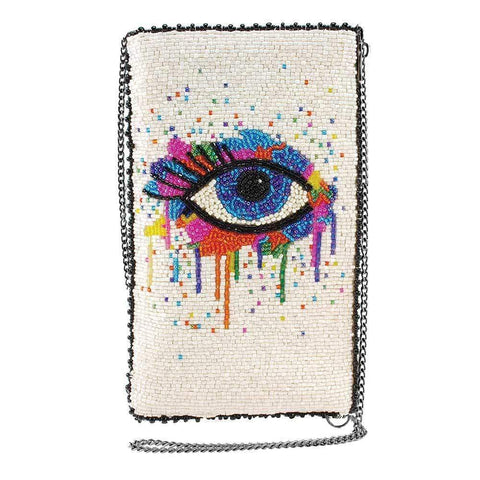Mary Frances Eye Paint Beaded Crossbody Phone Bag