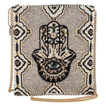 Mary Frances Hamsa, Beaded Crossbody Zip Top Handbag