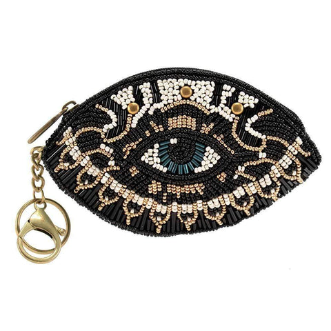 Mary Frances Hamsa, Beaded Eye Coin Purse/Key Fob