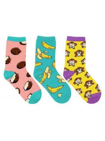 Kid's Spunky Monkey Graphic Socks 3-Pack