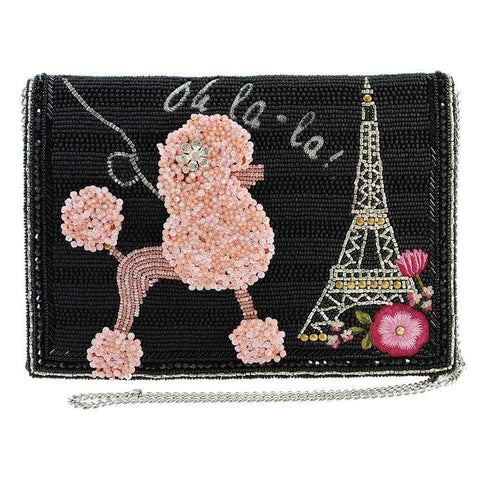 Mary Frances Oh La La Beaded Poodle, Paris Crossbody Clutch Handbag