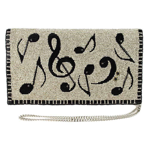 Mary Frances Well Noted Beaded-Embroidered Music Crossbody Clutch Handbag