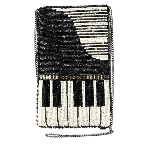 Mary Frances Well Played Beaded Piano Crossbody Phone Bag