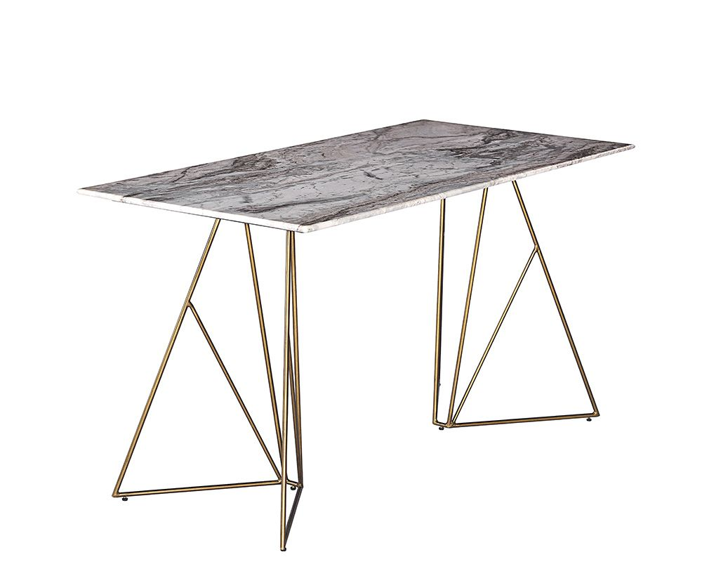 Ursula Desk With Grey Marble Top And Geometric Iron Legs
