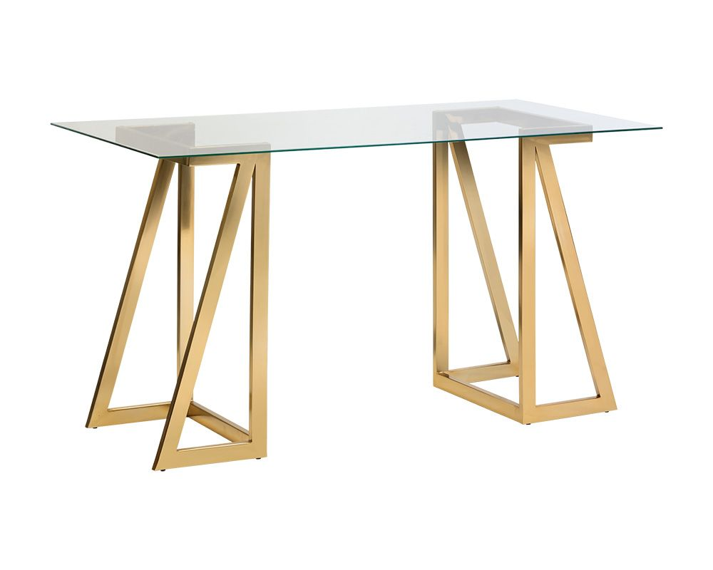 Atkinson Glass And Gold Steel Desk