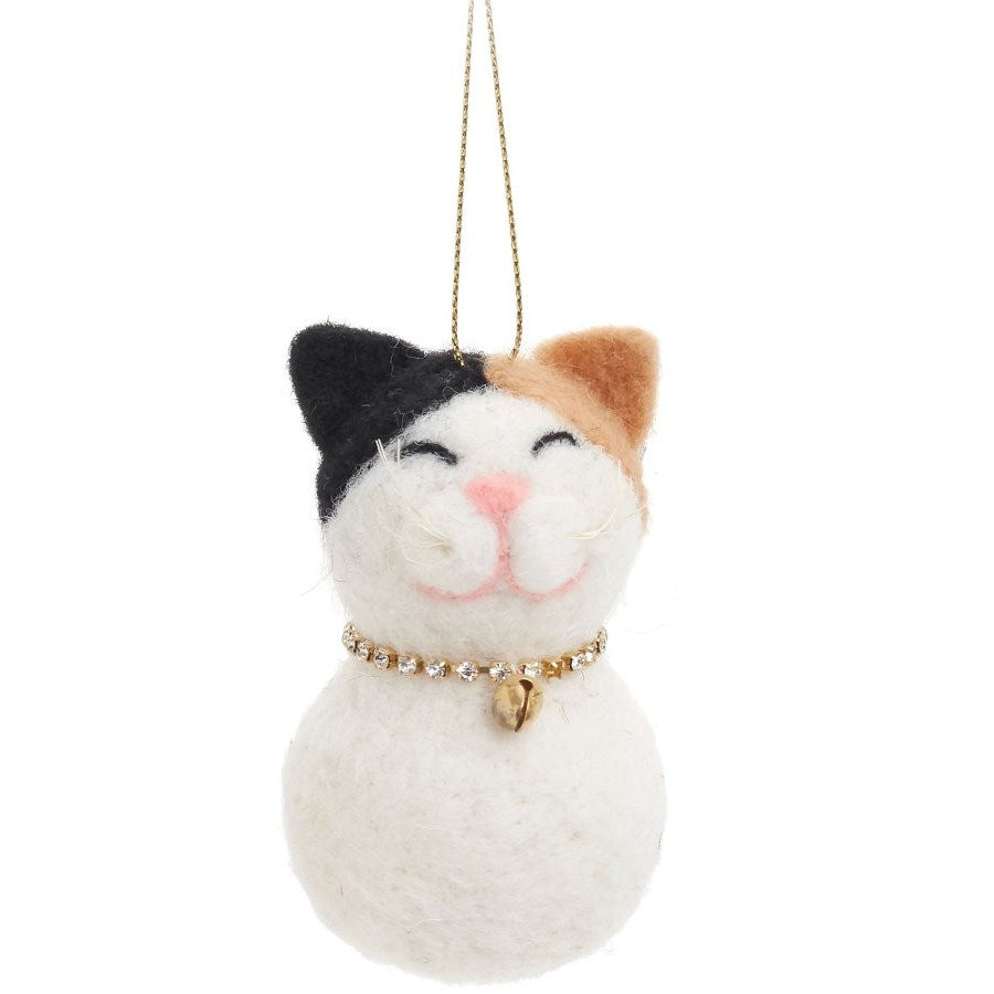 Wool Cat Christmas Ornament
