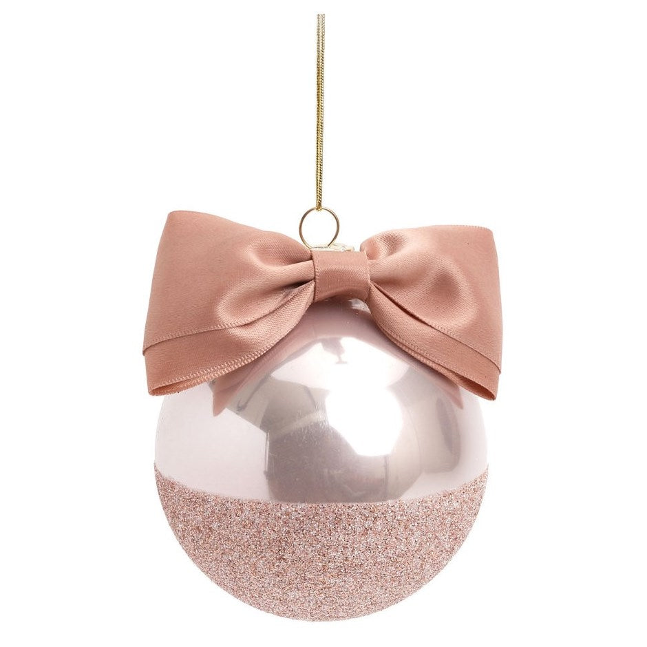 Pink Ball Ornament With A Bow