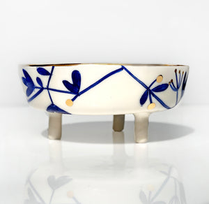 White Floral Ceramic Bowl | Floral Hand Made Bowl | Blue And White With Gold Edges