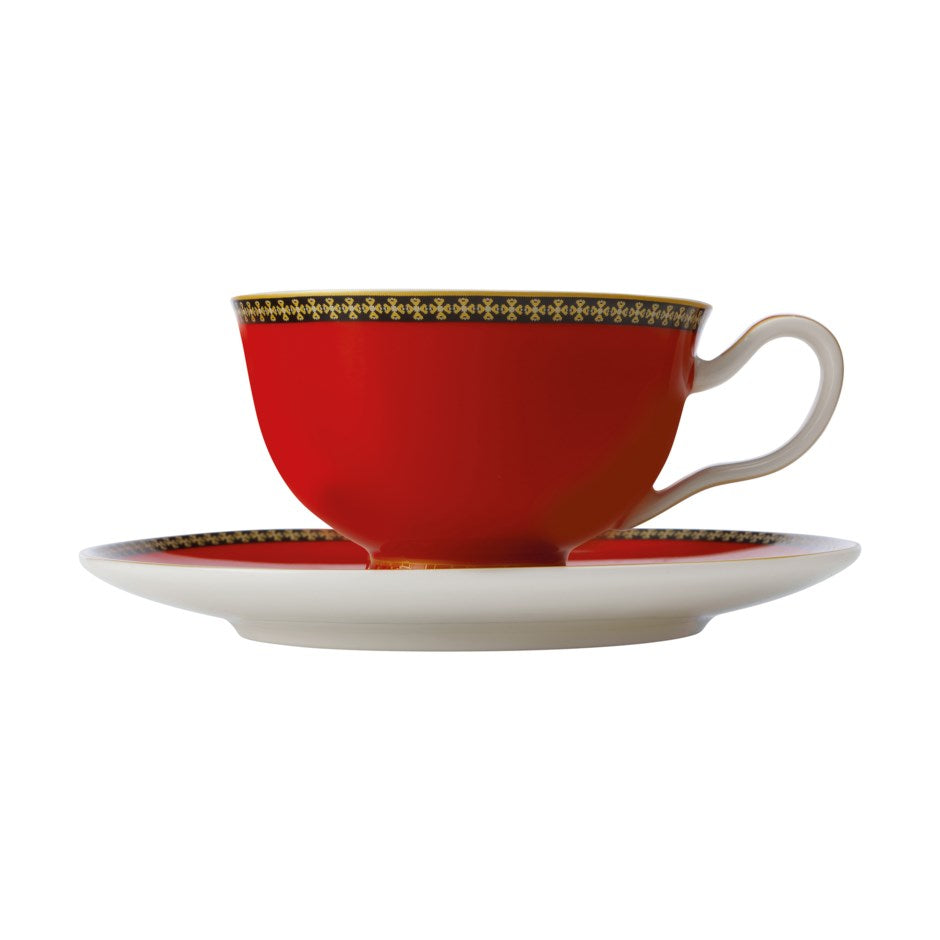 Tea Cup And Saucer - Black, Red And Gold