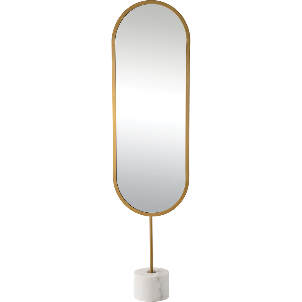 Taio Full Length Mirror- Iron - Antique Brass Painted - Finish - White Marble