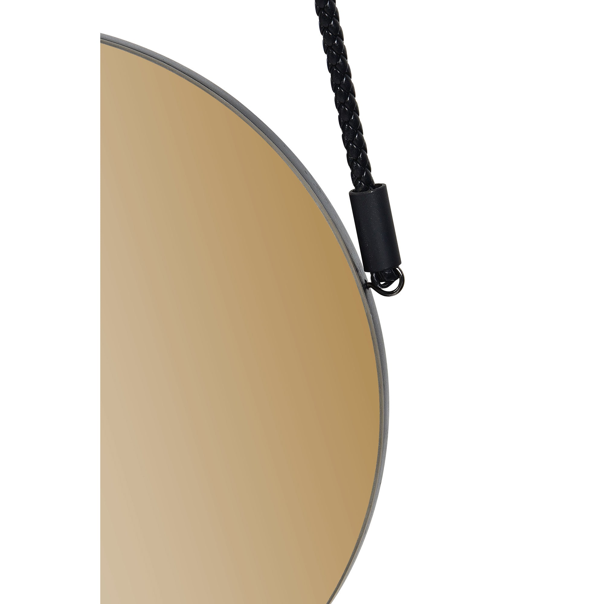 Bight Iron Black Powder Double Wall Mirror - Coated Finish - Smoked Amber - Tinted Mirror - Decorative Braided - Strap & Hook