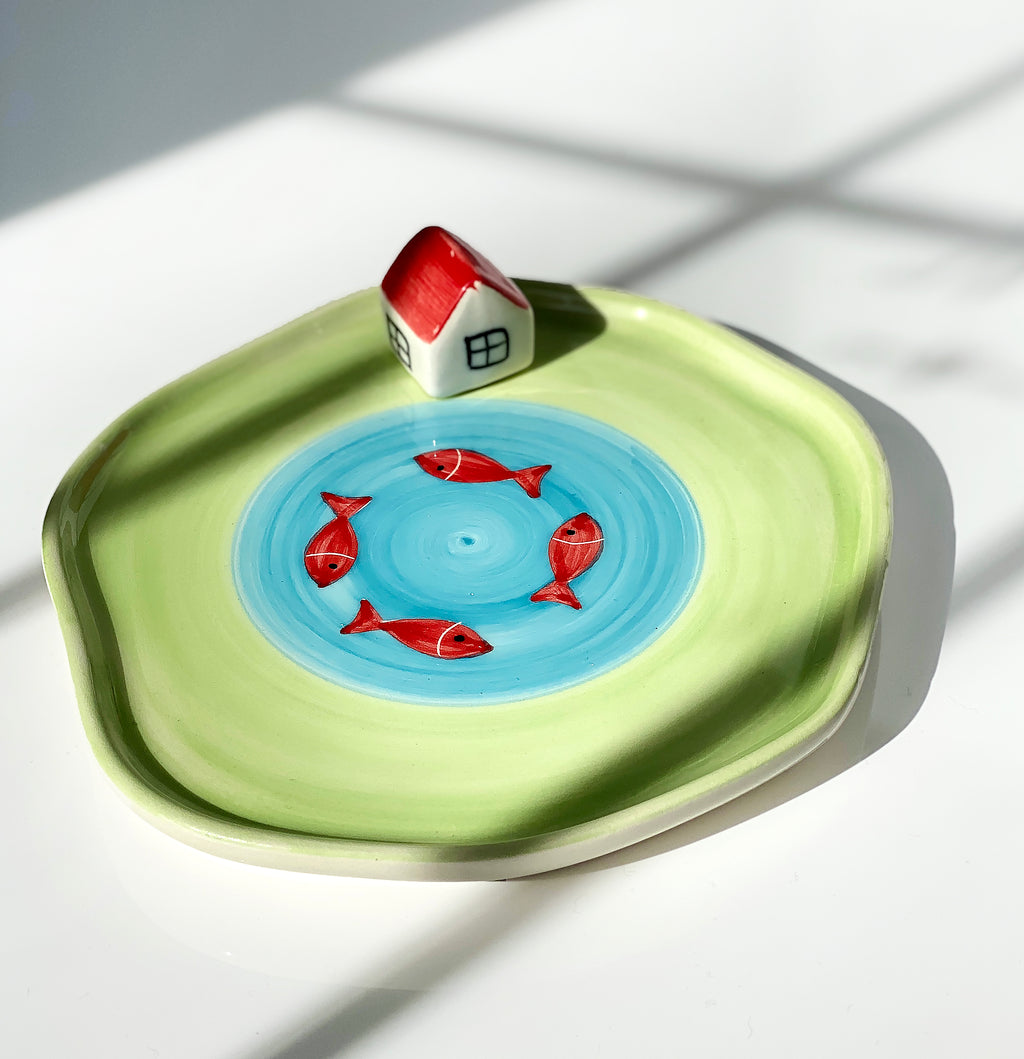 3D Norooz Gold Fish Ceramic Plate | 7 Sin Plate | Hand Made Ceramic Red Fish In A Pool Plate