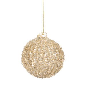 Gold Glitter Christmas Ball Ornament
