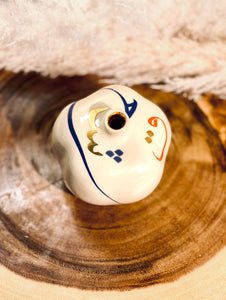 White Ceramic Pomegranate With Red, Blue And Gold Eshgh / Love