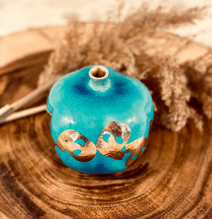 "Turquoise And Gold Ceramic Pomegranate ""H"" 