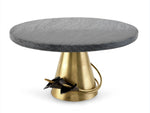 Calla Lily Cake Stand - Midnight Black Marble And Brass Base