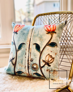 DECORATIVE PILLOW WITH OLD DOOR PRINT
