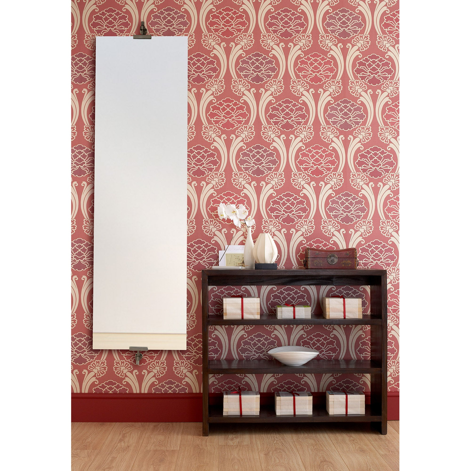 Ashlar Full Length Wall Mirror - All Glass - Polished Edges - Antique Bronze Clips