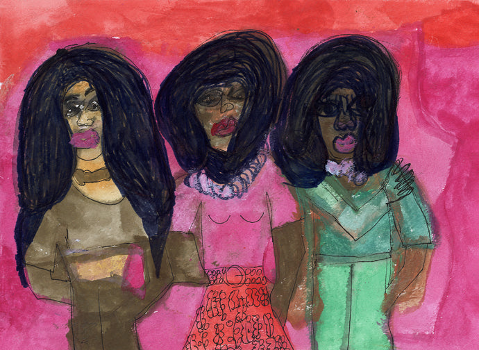 Janice Essick, Untitled (Three Figures in Brown, Pink, and Green)