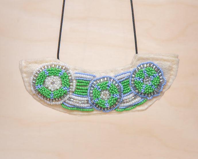 Rosemary Perronteau, Cream Felt Necklace with Blue and Green Beading