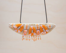 Load image into Gallery viewer, Rosemary Perronteau, Cream Felt Necklace with Pink and Orange Beading