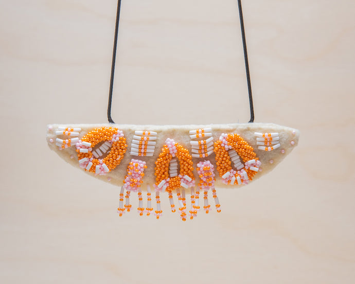 Rosemary Perronteau, Cream Felt Necklace with Pink and Orange Beading