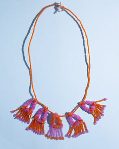 Rosemary Perronteau, Orange and Pink Beaded Necklace