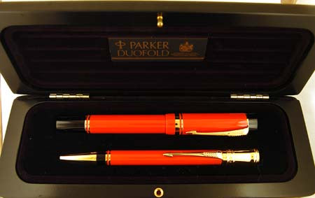 Parker Duofold Centennial Pen and Ballpen Set in Orange, Boxed - Medium nib