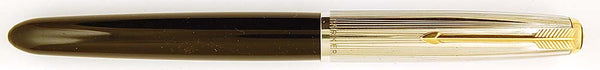 Parker 51 Custom in back, Rolled silver cap - Medium oblique nib