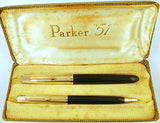 Parker 51 Custom Pen/Pencil Set in forest green, Gold caps - Fine nib