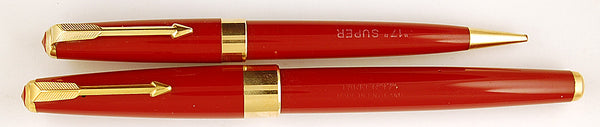 Parker 17 Super Pen & Pencil Set in burgundy - Fine 14k gold nib