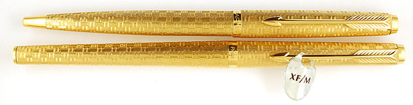 Parker 180 Pen/Ballpoint set in gold plated basket weave