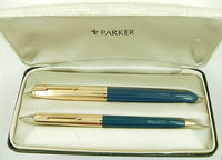 Parker 51 Custom Set in teal blue, Gold caps - Medium nib