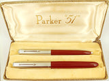 Parker 51 Classic Set in burgundy, Steel caps - Fine nib