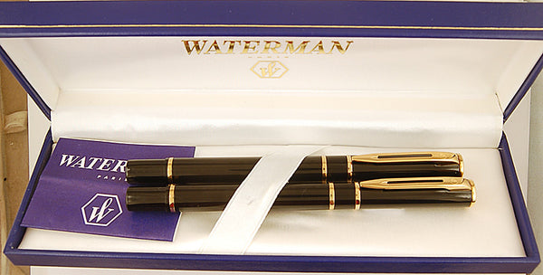 Waterman Laureat Mk2 pen and rollerball in Black Laque - Broad nib