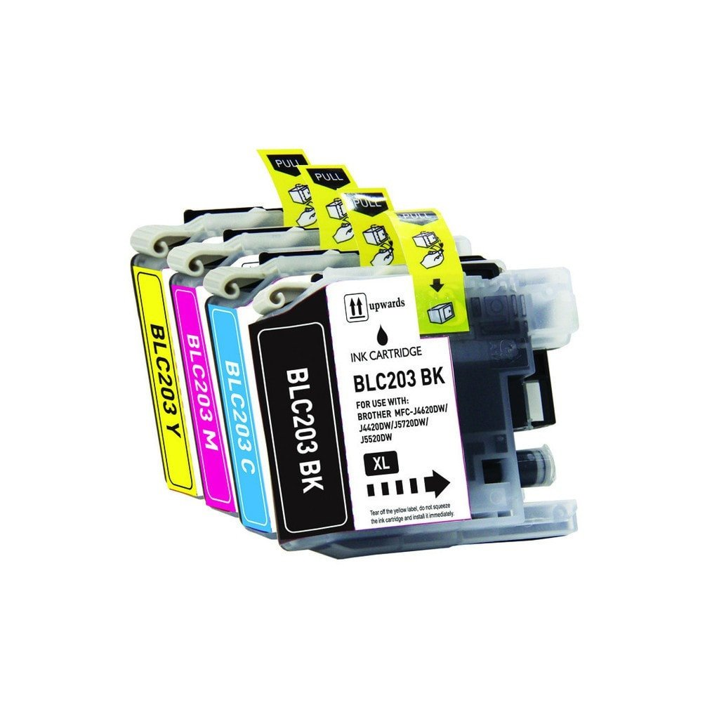 4 Brother LC-203 Compatible Extra Large Ink Cartridge Combo (Black, Cyan, Magenta, Yellow) - Precision Toner