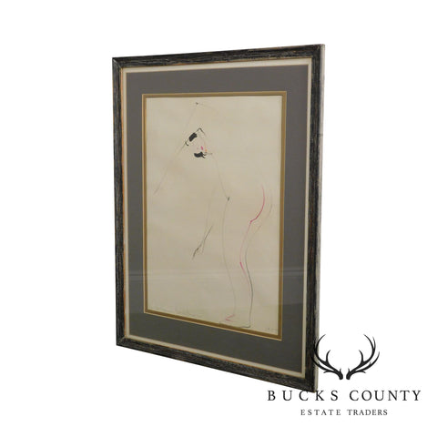 Dolya Goutman Mid Century Modern Framed Sketch of a Woman 1959