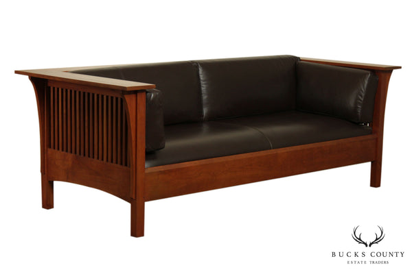 Stickley Mission Collection Cherry Brown Leather Spindle Settle