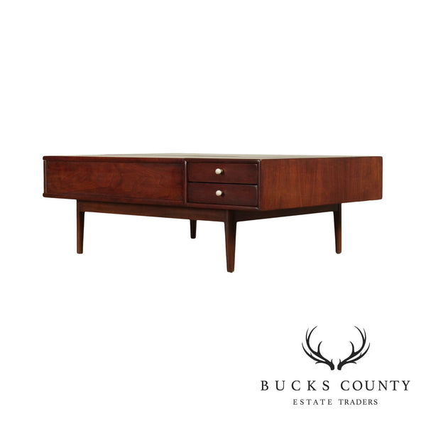 Kipp Stewart Drexel Declaration Mid Century Modern Walnut Coffee Table