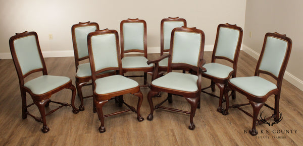 Antique Queen Anne Style Mahogany Ball & Claw Blue Leather Set 8 Dining Chairs