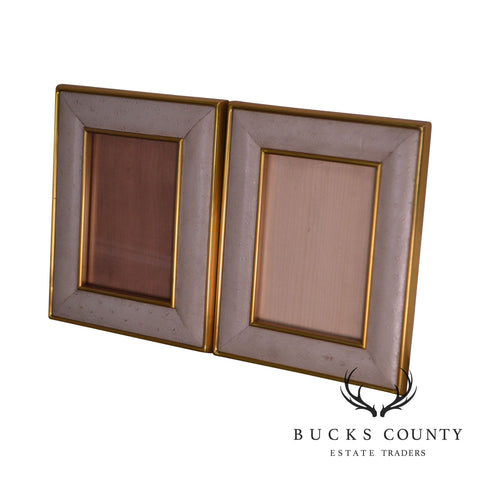 Maitland Smith Ostrich Leather & Brass Pair Picture Frames