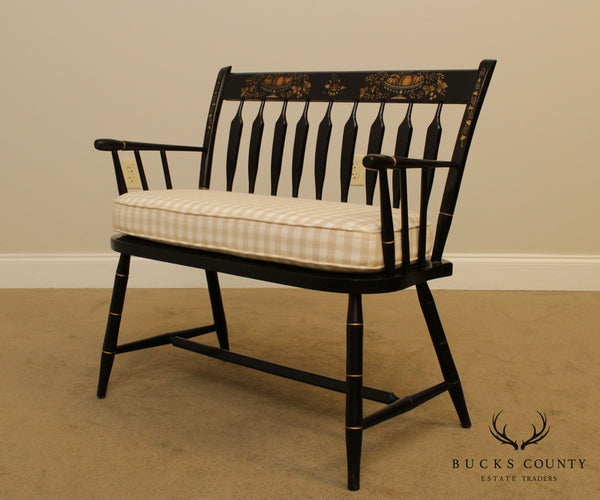 Nichols & Stone Black Lacquered Stenciled Hitchcock Style Windsor Bench