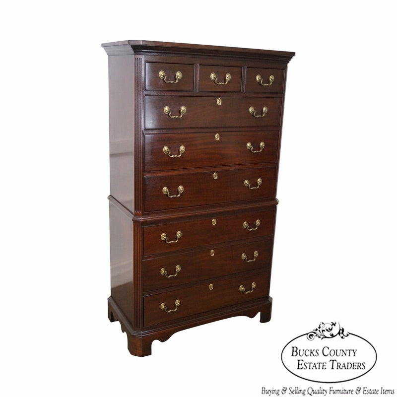 Mahogany Chippendale Style Tall Chest on Chest by Harden