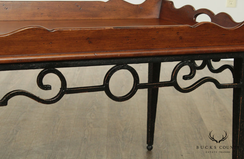 Quality Iron Base Wood Butlers Tray Top Coffee Table