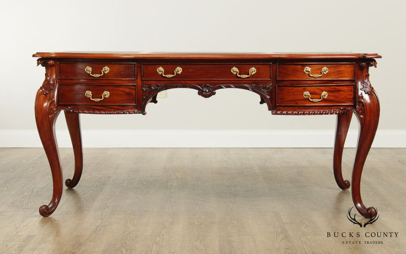 Georgian Style Solid Mahogany Leather Top Desk