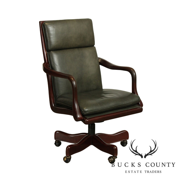 Hancock & Moore Mahogany & Dark Green Leather Office Desk Chair