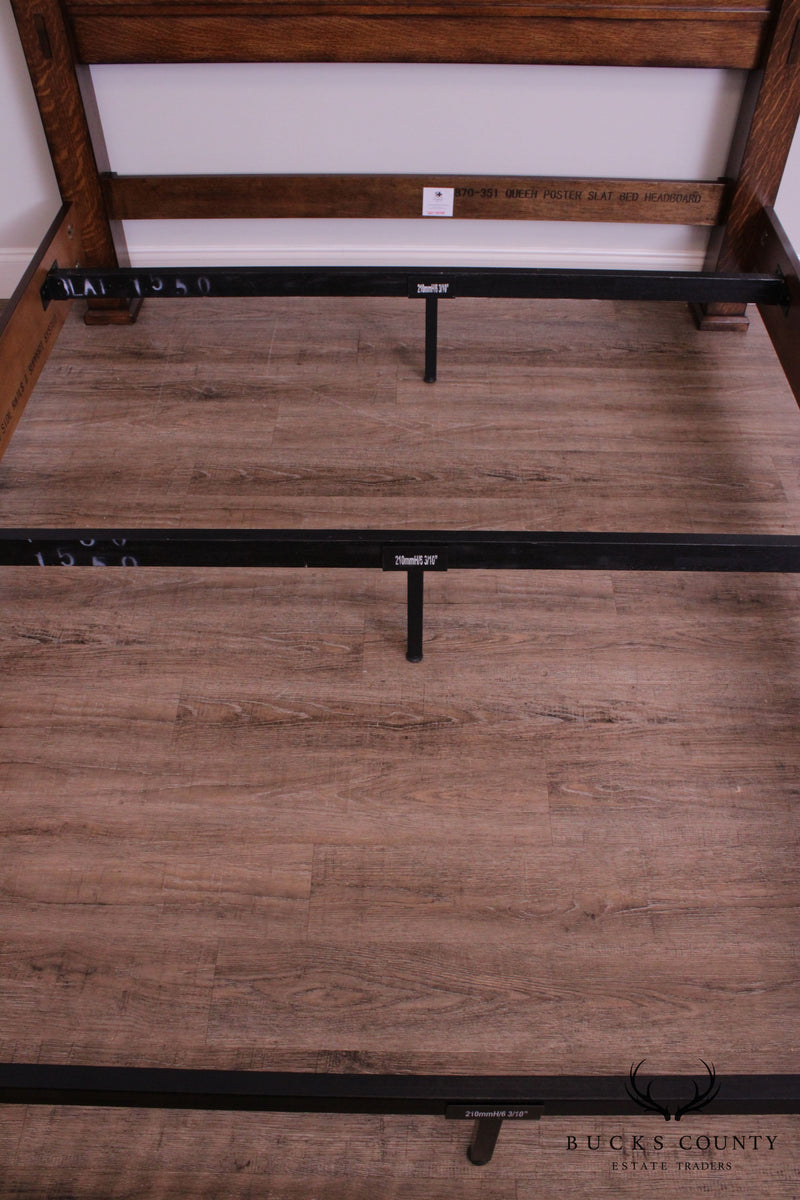 Mission Style Oak Queen Size Prairie Spindle Bed