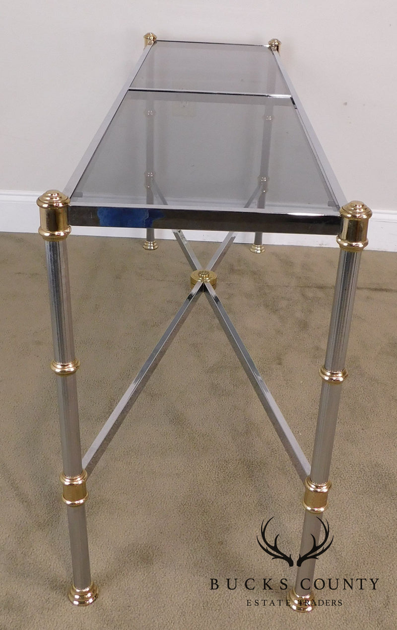 Directoire Style Smoked Glass Chrome and Brass Console Table